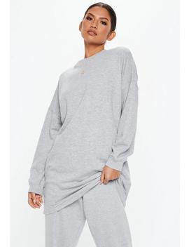 Grey Crew Neck Longline Sweatshirt by Missguided