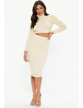 Cream Knitted Bodycon Midi Skirt by Missguided