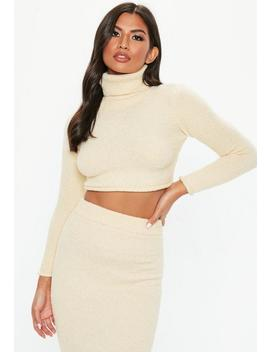 Cream Roll Neck Cropped Jumper by Missguided