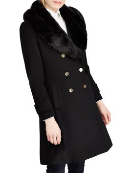 Wool Blend Coat With Faux Fur Trim by Lauren Ralph Lauren