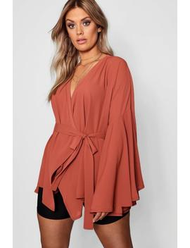 Plus Aisley Wide Sleeve Wrap Front Tie Top by Boohoo