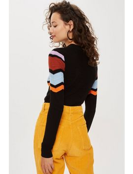Chevron Insert Jumper by Topshop