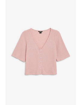 Buttoned V Neck Top by Monki