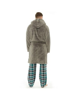 Kangaroo Poo Mens Hooded Wellsoft Robe Charcoal by Mand M Direct
