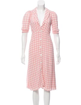Short Sleeve Gingham Midi Dress by Reformation