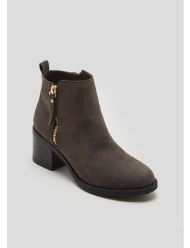 Wide Fit Faux Nubuck Block Heel Ankle Boots by Matalan