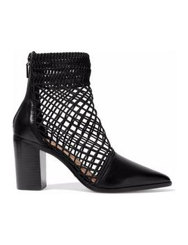 Rosmari Lattice Paneled Leather Ankle Boots by Schutz