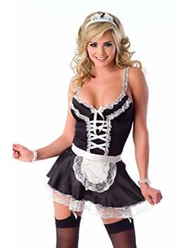 Velvet Kitten Frisky French Maid Sexy Costume For Women, Black / White by Velvet Kitten
