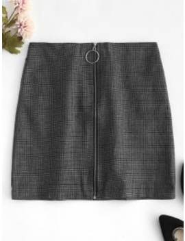 O Ring Zip Up Houndstooth Skirt   Jet Gray S by Zaful
