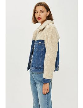Petite Hybrid Borg Denim Jacket by Topshop