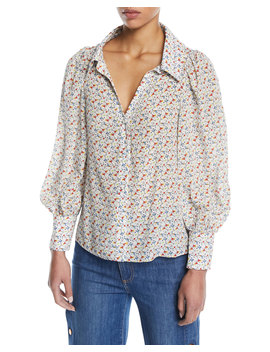 Salome Martinis Open Neck Long Sleeve Blouse by Alice + Olivia