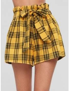 Tie Front Plaid Shorts   Mustard Xl by Zaful