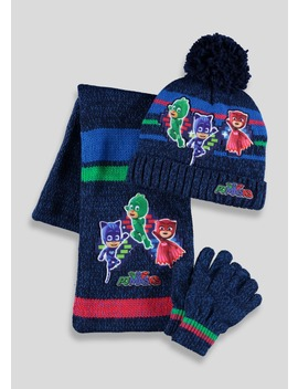Kids Pj Masks Hat Scarf & Gloves Set (2 6yrs) by Matalan