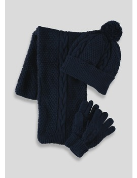 Kids Hat Scarf & Gloves Set (3 13yrs) by Matalan