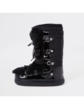 Girls Black Faux Fur Trim Snow Boots by River Island