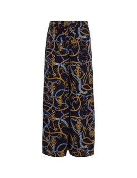 Girls Chain Print Wide Leg Palazzo Trousers by River Island
