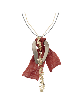 Demelza Knotted Fabric & Chain Pendant Necklace by Olivar Bonas