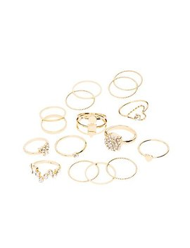 Crystal & Textured Stackable Rings   16 Pack by Charlotte Russe