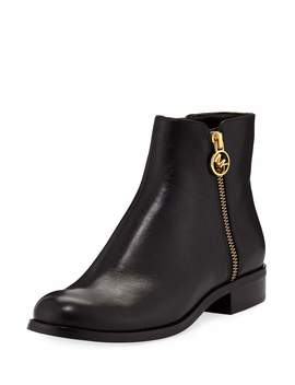 Jaycie Flat Vachetta Leather Zip Booties by Michael Michael Kors
