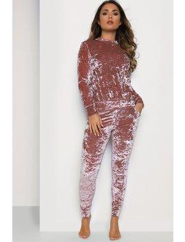 Pink Crushed Velvet Tracksuit by Lasula