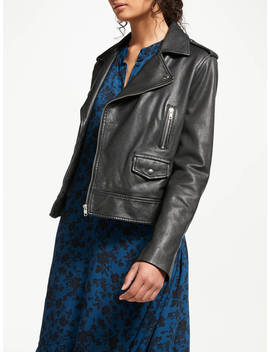 And/Or Leather Biker Jacket, Black by And/Or