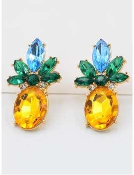 Rhinestone Pineapple Design Earrings   Gold by Zaful