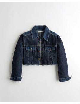 Patchwork Ultra Crop Denim Jacket by Hollister