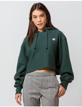 Champion Reverse Weave Lakeside Green Womens Crop Hoodie by Champion