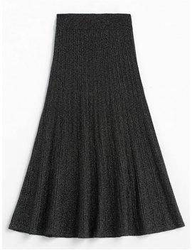 Glitter Elastic Waist Mid Calf Skirt   Black by Zaful