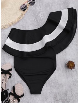 Contrast Ruffle Overlay One Piece Swimsuit   Black S by Zaful