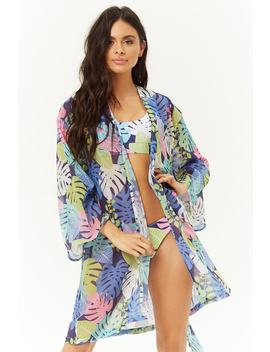 Leaf Print Kimono Swim Cover Up by Forever 21