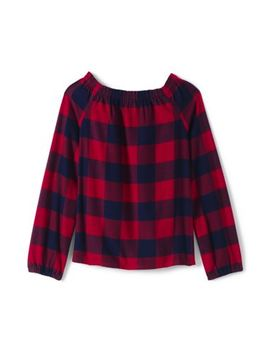 Girls Gathered Neck Flannel Top by Lands' End
