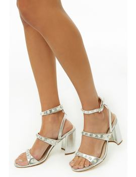 Metallic Faux Pearl Heels by Forever 21