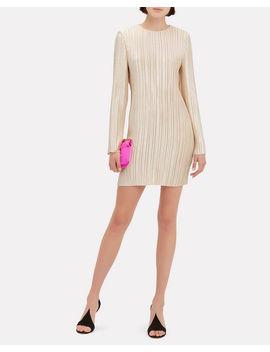 Champagne Plissé Pleat Mini Dress by Tibi