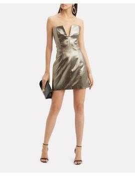 Gold Lamé Strapless Mini Dress by Redemption