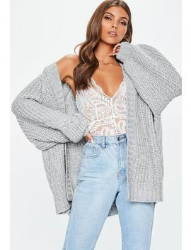 Grey Oversized Batwing Cable Knitted Cardigan by Missguided