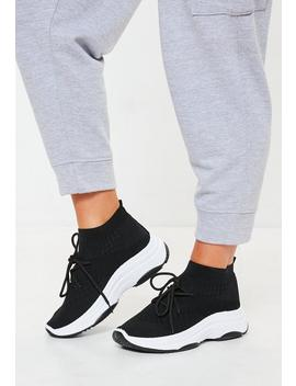 Black Knitted Lace Up Sock Trainers by Missguided