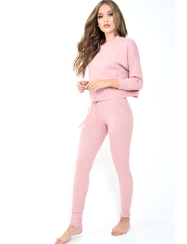 Pink Fine Cable Knit Loungewear Set   Lizette by Rebellious Fashion