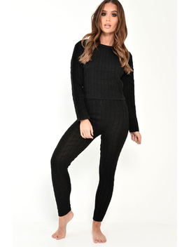 Black Cable Knit Loungewear Set   Anha by Rebellious Fashion