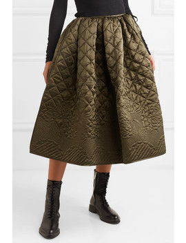 Sybil Quilted Silk Satin Midi Skirt by Cecilie Bahnsen