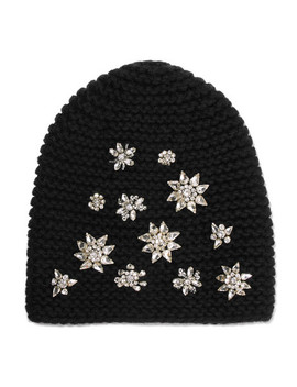 Crystal Embellished Alpaca Beanie by Jennifer Behr