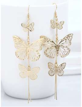 Alloy Layered Butterfly Earrings   Golden by Zaful