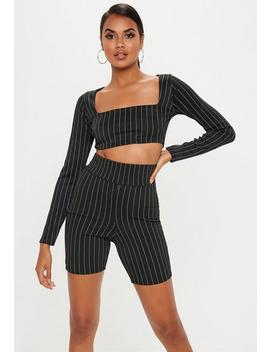 Black Pinstripe Cycling Shorts by Missguided