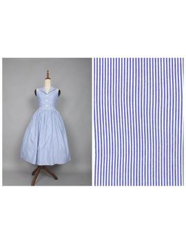Shirley Dress In Vintage Blue Ticking Stripes by Etsy