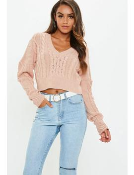 Pink V Neck Cable Knitted Cropped Jumper by Missguided