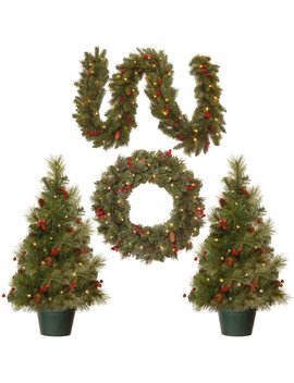 National Tree Co. 4 Piece Green Pine Artificial Christmas Tree, Wreath And Garland Set & Reviews by National Tree Co.