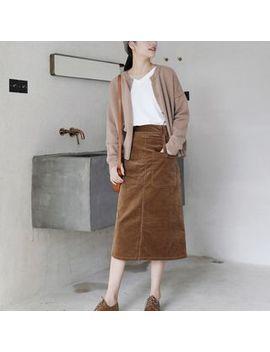 Dreamount   Pocket Detail Midi A Line Corduroy Skirt by Dreamount