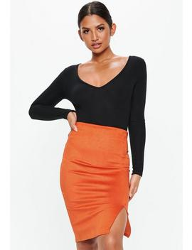 Orange Bonded Faux Suede Split Front Midi Skirt by Missguided