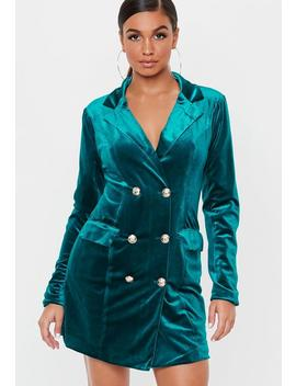 Teal Velvet Double Breasted Blazer Dress by Missguided