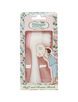 White & Pink Buff & Cleanse Brush by The Vintage Cosmetic Company